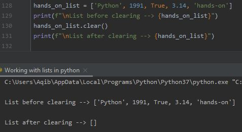 Working With Lists In Python - Clearing A List