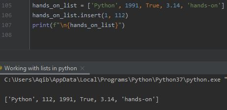 Working With Lists In Python - Insert Item In A List