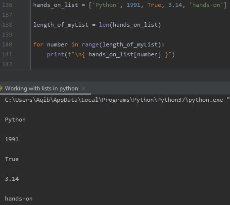 Working With Lists In Python - Iterate Using for Loop & range() Function