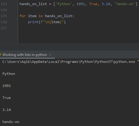 Working With Lists In Python - Iterate Using for Loop