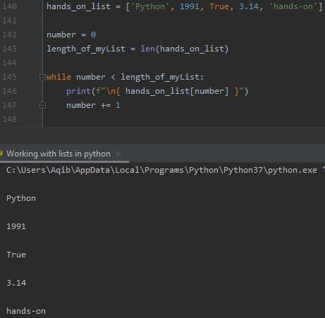 Working With Lists In Python - Iterate Using while Loop