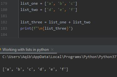 Working With Lists In Python - Joining Using + Operator