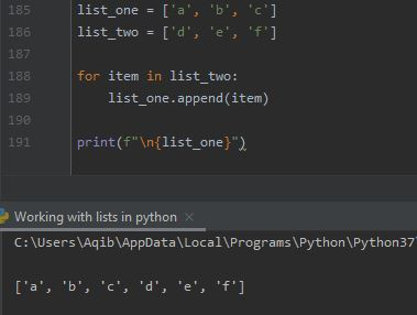 Working With Lists In Python - Joining Using append() Method