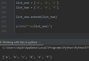 Working With Lists In Python - Joining Using extend() Method