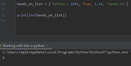 Working With Lists In Python - Length Of List