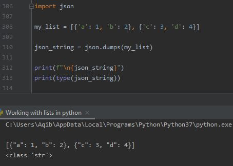 Working With Lists In Python - List Of Dictionaries To Json