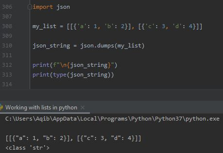 Working With Lists In Python - List Of Lists To Json