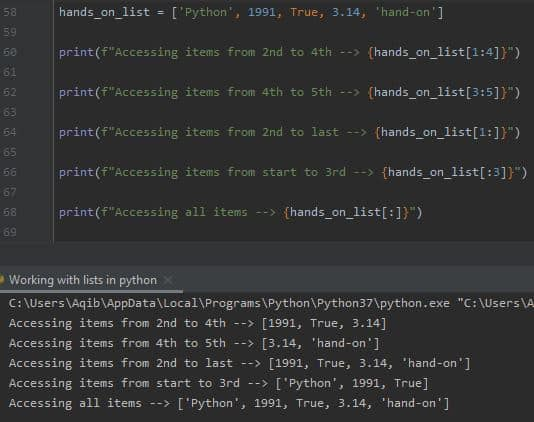Working With Lists In Python - List Slicing