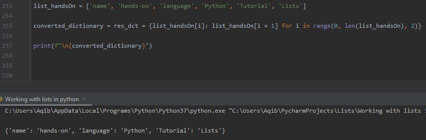Working With Lists In Python - List To Dictionary By Dict Comprehension