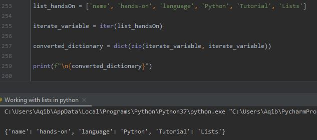 Working With Lists In Python - List To Dictionary By zip() Method