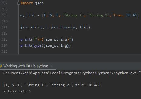 Working With Lists In Python - List To Json