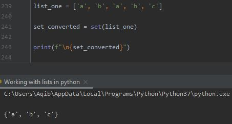 Working With Lists In Python - List To Set By set() Method
