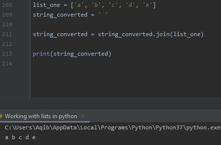 Working With Lists In Python - List To String By .join() Method