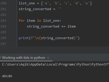 Working With Lists In Python - List To String By Iteration