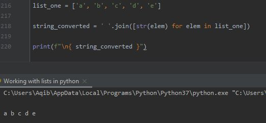 Working With Lists In Python - List To String By List Comprehension