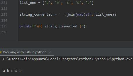 Working With Lists In Python - List To String Using map() Method