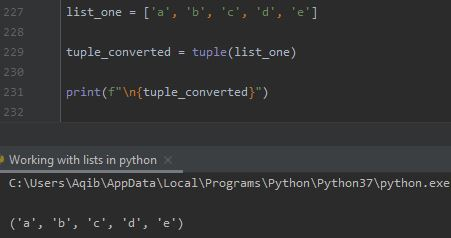 Working With Lists In Python - List To Tuple By tuple() Method