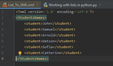 Working With Lists In Python - List To XML Using ElementTree