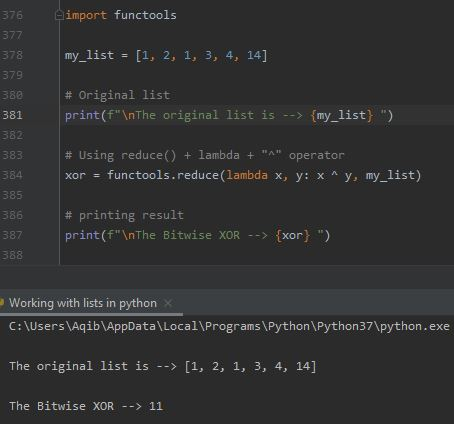 Working With Lists In Python - List To XOR Method 1