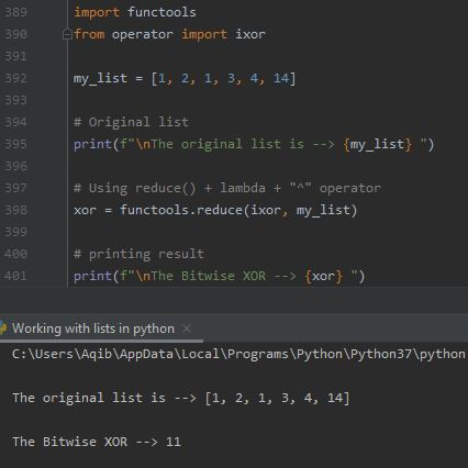 Working With Lists In Python - List To XOR Method 2
