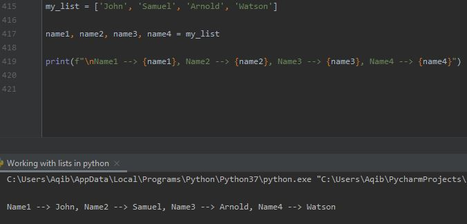 Working With Lists In Python - List Unpacking