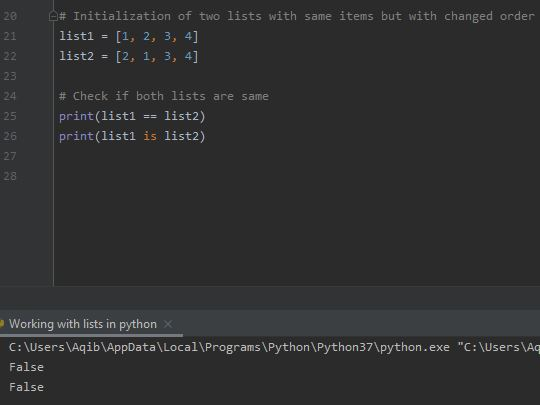 Working With Lists In Python - Lists Are Ordered