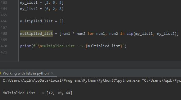 Working With Lists In Python - Multiplication Of Two Lists 1
