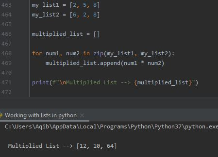 Working With Lists In Python - Multiplication Of Two Lists