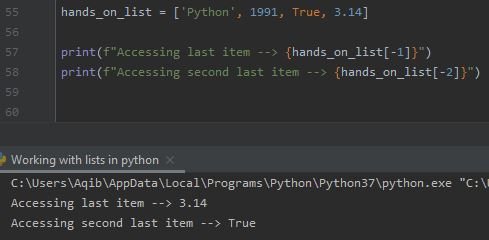 Working With Lists In Python - Negative Indexing In Lists