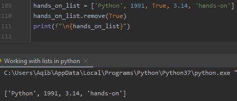 Working With Lists In Python - Removing Specific Item