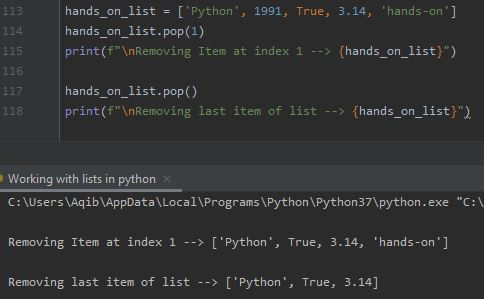 Working With Lists In Python - Removing Specified Index