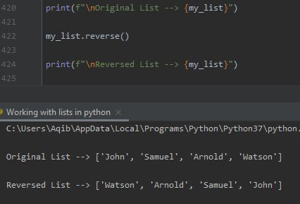 Working With Lists In Python - Reversing A List