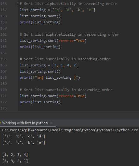 Working With Lists In Python - Sorting A List
