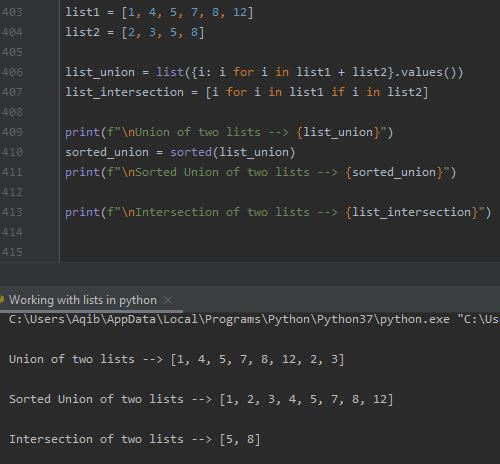 Working With Lists In Python - Union & Intersection Of Two Lists