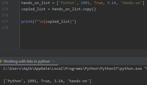 Working With Lists In Python - Using copy() Method
