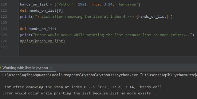 Working With Lists In Python - Using del Keyword
