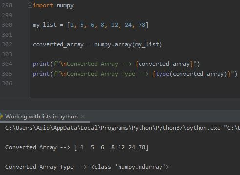 Working With Lists In Python - Using numpy.array()