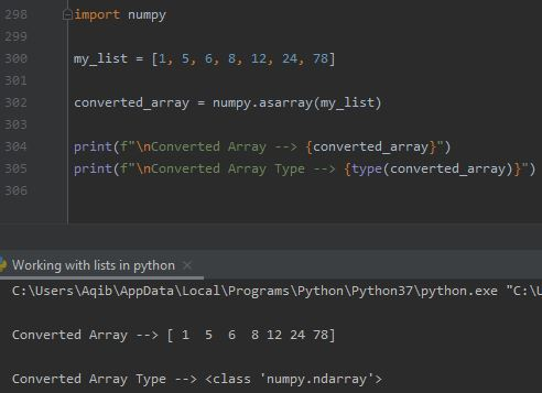 Working With Lists In Python - Using numpy.asarray()