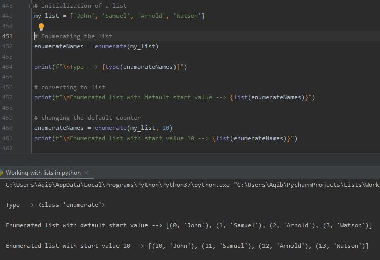 Working With Lists In Python - Working of enumerate()