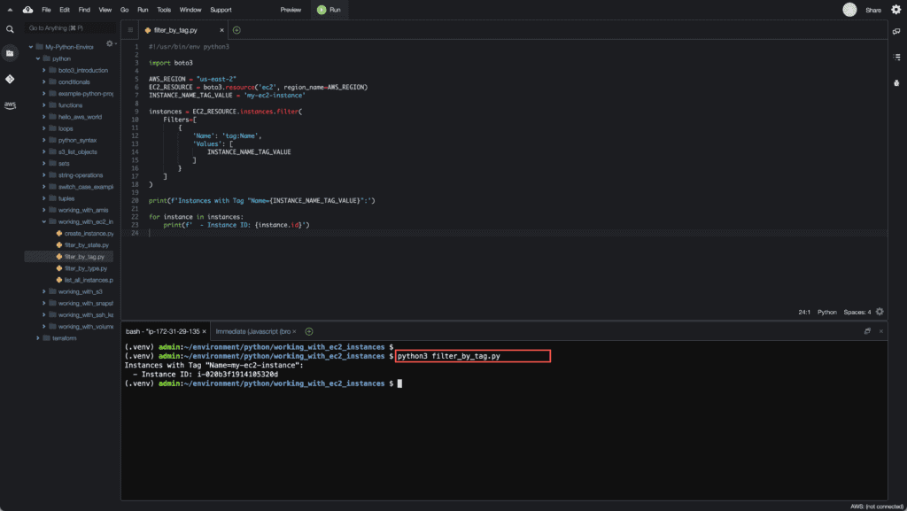 10. Working with EC2 Instances using Boto3 in Python - Filtering EC2 instances by Tag