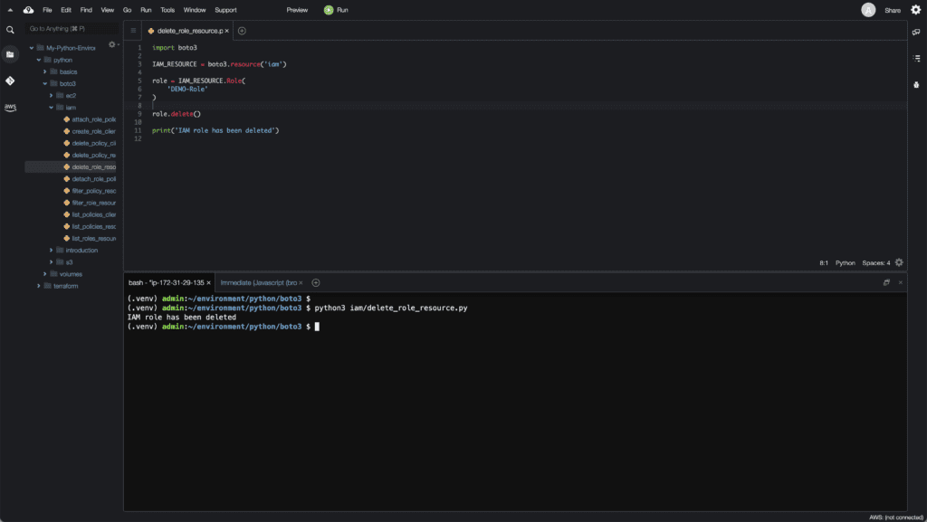 10. Working with IAM in Python using Boto3 - Delete role by using resource