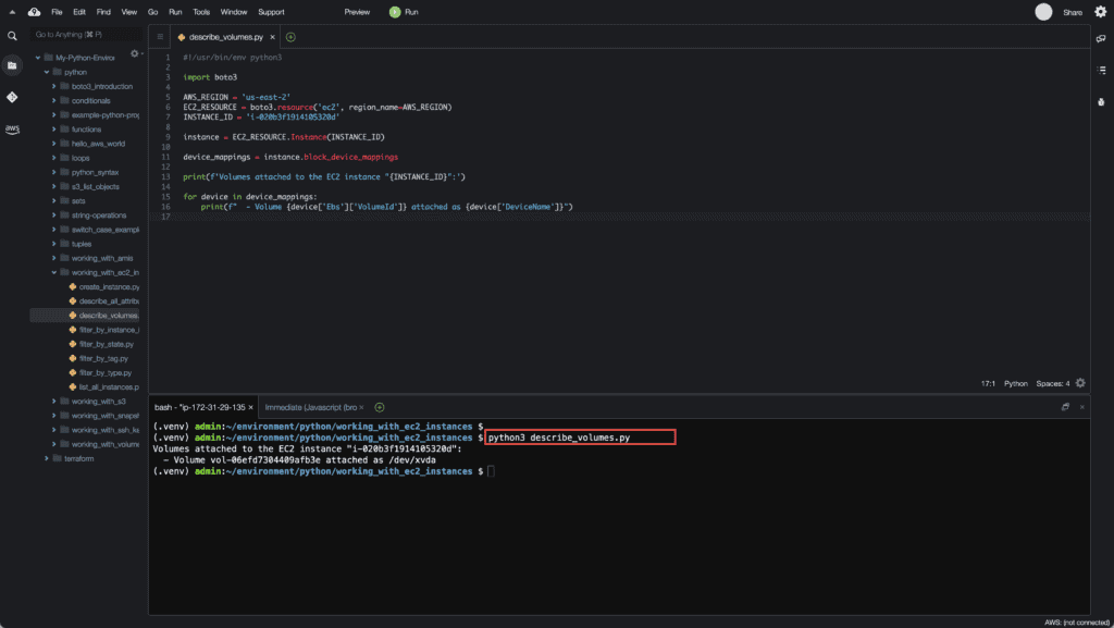 13. Working with EC2 Instances using Boto3 in Python - Listing EC2 instance EBS volumes