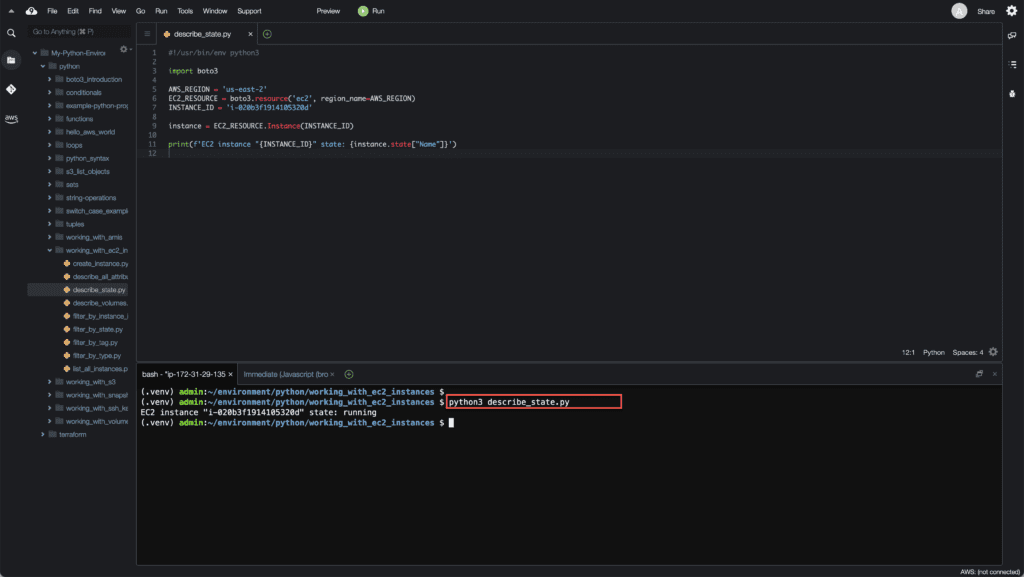 14. Working with EC2 Instances using Boto3 in Python - Getting EC2 instance state