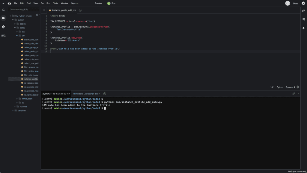 14. Working with IAM in Python using Boto3 - Add role to instance profile