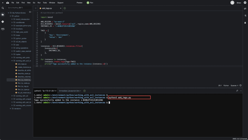 15. Working with EC2 Instances using Boto3 in Python - Adding Tags to EC2 instance