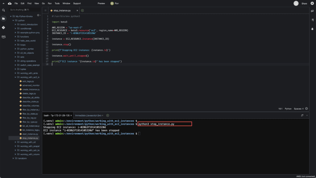 19. Working with EC2 Instances using Boto3 in Python - Stop EC2 instance