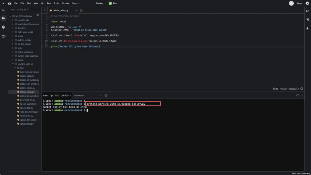 20. Working with S3 in Python - Deleting S3 Bucket Policy using Boto3