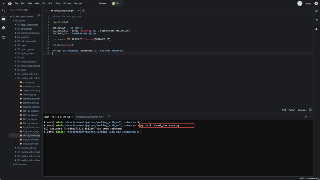 21. Working with EC2 Instances using Boto3 in Python - Reboot EC2 instance