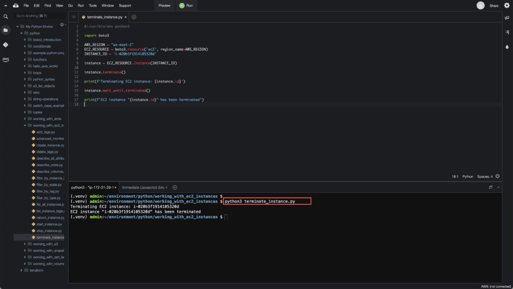 22. Working with EC2 Instances using Boto3 in Python - Terminate EC2 instance