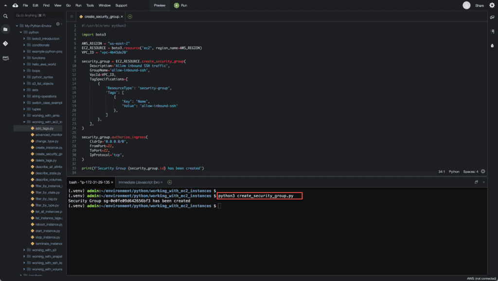 24. Working with EC2 Instances using Boto3 in Python - Creating a Security Group